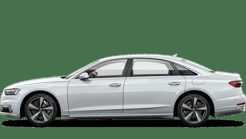 Glacier White (Metallic) Audi A8 L TFSI e