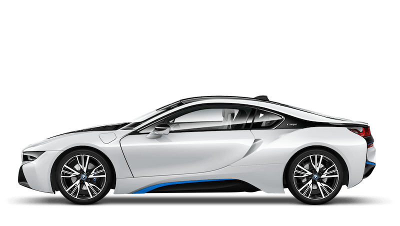 Crystal White With Blue Accent (Pearl) BMW i8 Coupe