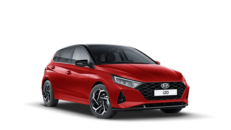 Dragon Red with Phantom Black Roof Hyundai I20 New