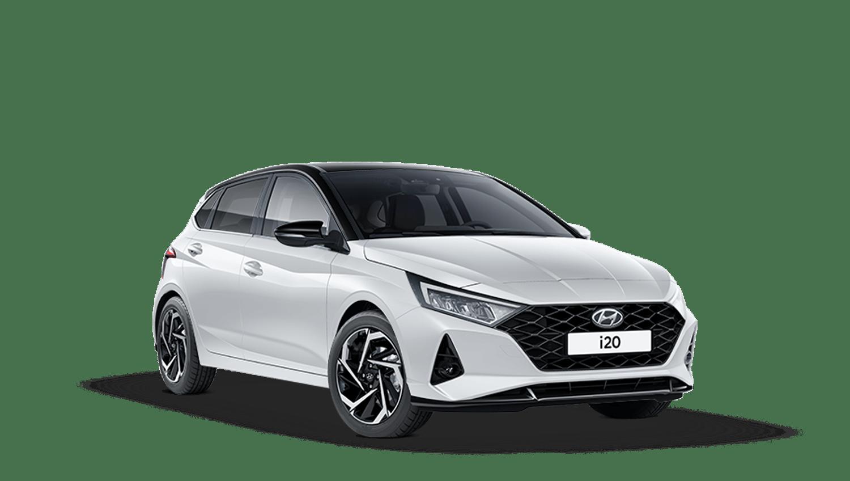 Polar White with Phantom Black Roof Hyundai I20 New