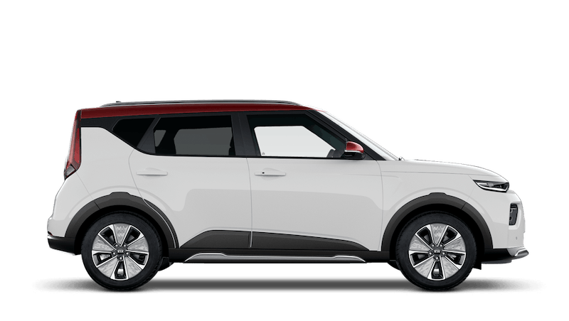 Clear White with Red Roof Kia Soul EV