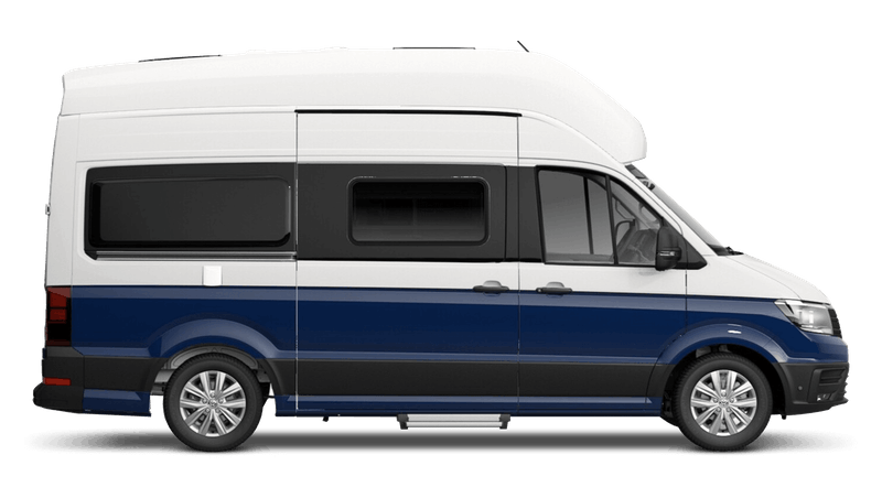 Deep Ocean Blue with Candy White Roof (Metallic) Volkswagen Grand California