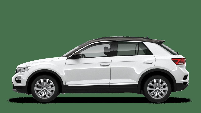 Pure White with Dark Oak Brown Roof (Metallic) Volkswagen T Roc