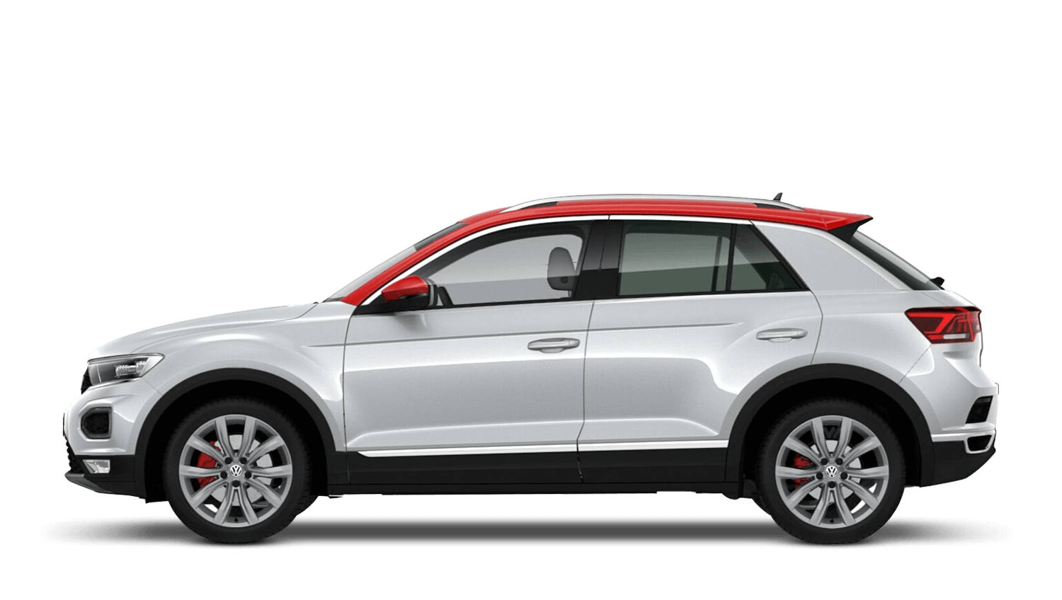 White Silver with Flash Red Roof (Metallic / Pearl) Volkswagen T Roc
